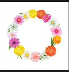 hello spring circle frame greeting card and vector image