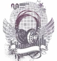 heraldry with headphones vector image vector image