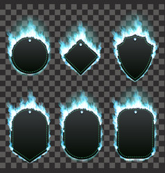 set of six frames surrounded with azure flame vector image