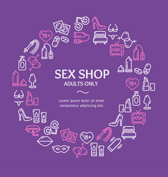 sex shop round design template line icon concept vector image vector image