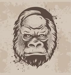 silhouette snout gorillas monkeys in retro style vector image vector image