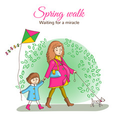 spring walk in the park vector image