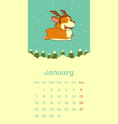 2019 january calendar with welsh corgi dog on snow vector