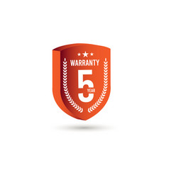 5 years warranty 3 d label logo template design vector
