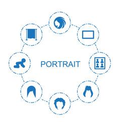 8 portrait icons vector