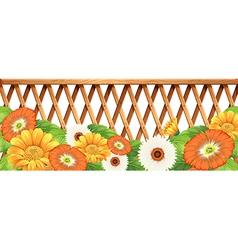A fence with flowers vector