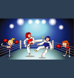 Background scene with athletes and cheerleaders vector