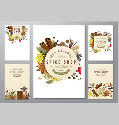 Backgrounds with paper emblems and spices vector