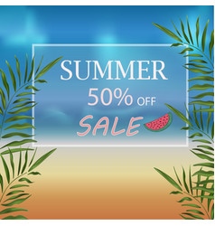 banner summer discount on the beach with sea vector image