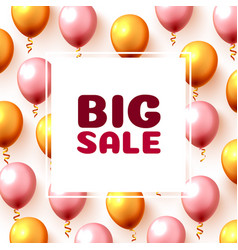 big sale balloon market frame on pink vector image
