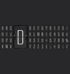 Black scoreboard abc font with numbers for showing vector
