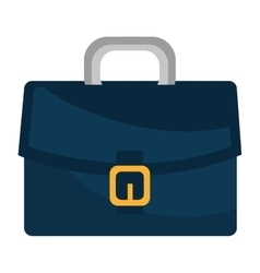 Blue leather briefcase isolated flat icon vector image