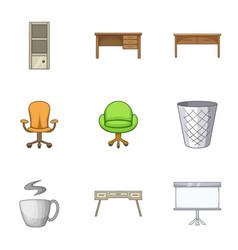 Bureau icons set cartoon style vector