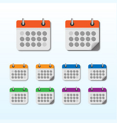 calendar icon set with different color vector image