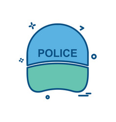 Cap hat law officer police icon design vector