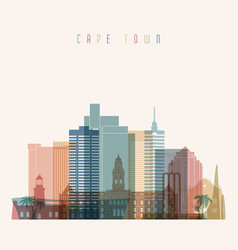 Cape town skyline detailed silhouette vector