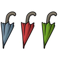 Cartoon colored umbrella icon set vector