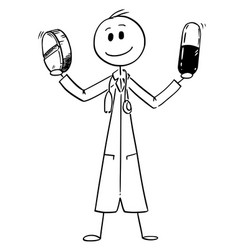 cartoon of medicine doctor holding two pills vector image