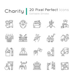 charity pixel perfect linear icons set vector image