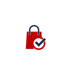 check shopping logo icon design vector image
