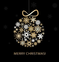 Christmas greeting card with golden balls vector image