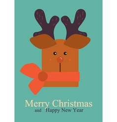 Christmas greeting with deer vector
