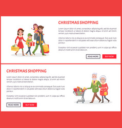 christmas shopping poster family and xmas gifts vector image