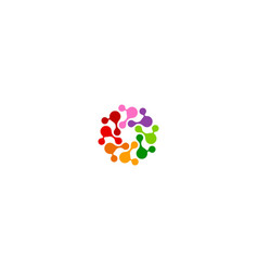 circle connect colorful technology logo vector image