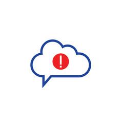 Cloud warning icon computing concept vector