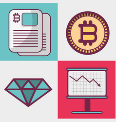Color set icon bitcoin money currency vector