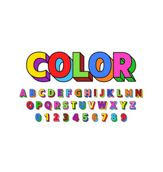colorful font design alphabet letters and numbers vector image