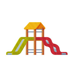 Colorful wooden slide with ladder on playground vector