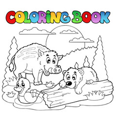 coloring book with happy animals 2 vector image