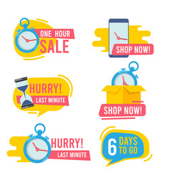 countdown badges promotional hot offers fast vector image