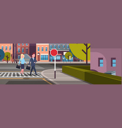 couple business man woman going crosswalk city vector image