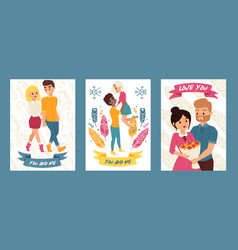 couple young people walking together set of vector image