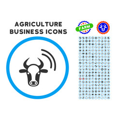 Cow radio signal rounded icon with set vector