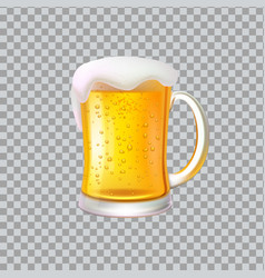 Craft beer with foam big glass mug alcohol drink vector