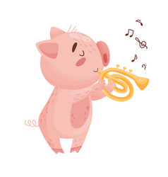 Cute pig with a pipe on white vector