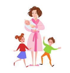 Desperate mother with newborn and children vector
