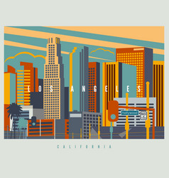 Downtown los angeles in retro style vector