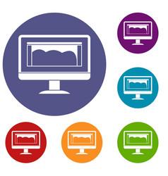 drawing monitor icons set vector image
