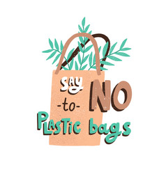 eco sticker with say no to plastic bags vector image