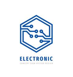 Electronic technology concept logo design digital vector
