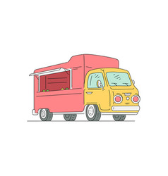 empty red and yellow food truck isolated on white vector image