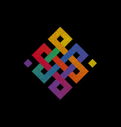 Engraving of colorful endless knot symbol on black vector
