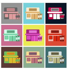 Flat icons set building cinema popcorn vector