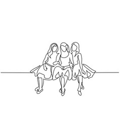 Friends girls sitting together vector