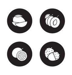 Fruits monochrome icons set vector