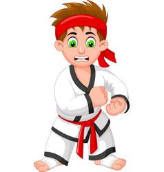 Funny karate boy in white red uniform cartoon vector